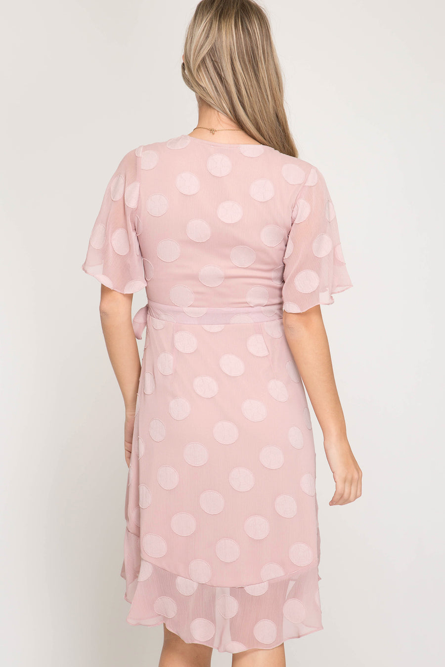 She + Sky Half flutter sleeve polka dot textured wraps dress with waist tie