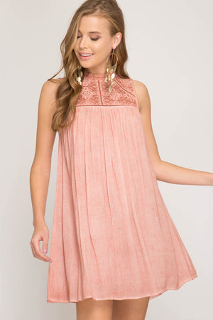 She + Sky Sleeveless garment dye dress with contrast lace detail