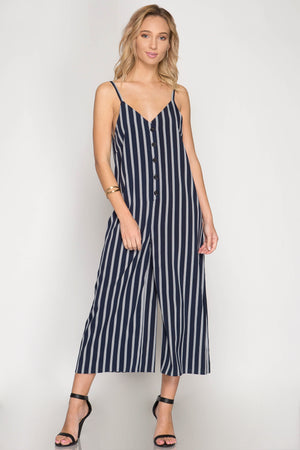 She + Sky Sleeveless striped woven jumsuits with button down detail