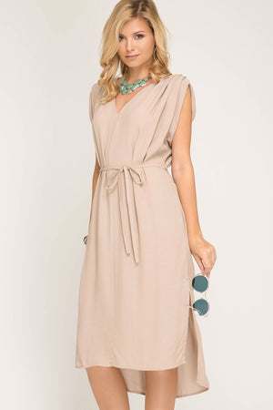 She + Sky Sleeveless batwing style midi hi-low dress with shoulders pleating and side pockets