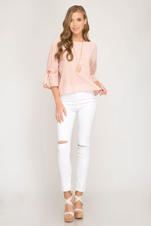 She + Sky Three quarter sleeve woven top with ribbon tie detail on arms