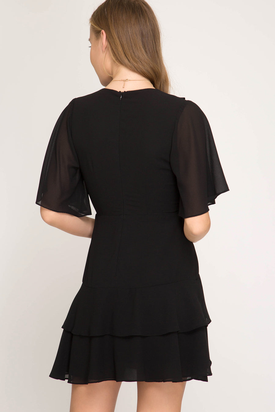 She + Sky Half sleeve woven dress with back waist tie and ruffle detail