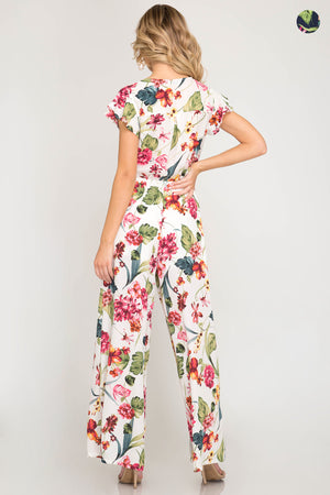 She + Sky Half sleeve floral print woven jumpsuits with waist tie