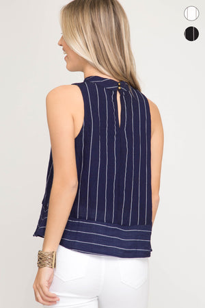 She + Sky Sleeveless woven striped mock neck top