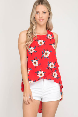 She + Sky Sleeveless woven floral print hi - low top with back straps details