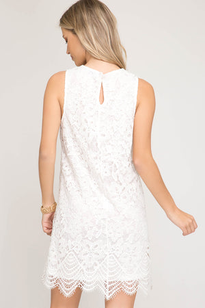 She + Sky Sleeveless lace dress with scalloped hemline