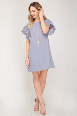 She + Sky Half sleeve drop shoulder dress with eyelet lace sleeve detail