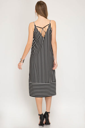 She + Sky Striped cami midi knit dress