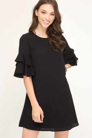 She + Sky Ruffled half sleeve dress with lining