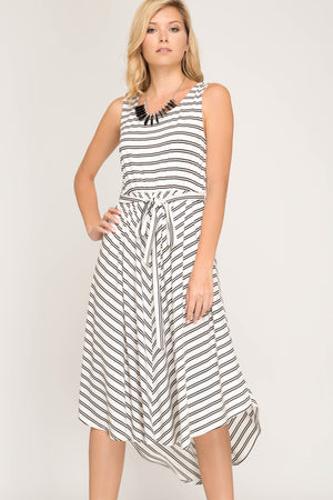 She + Sky Sleeveless striped knit midi dress with waist tie