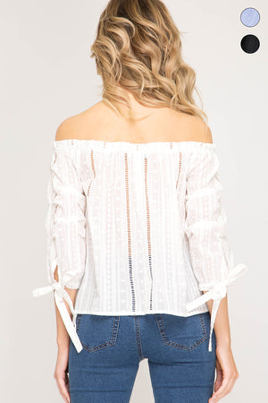 She + Sky 3/4 pintucked bubble sleeve off the shoulder woven top