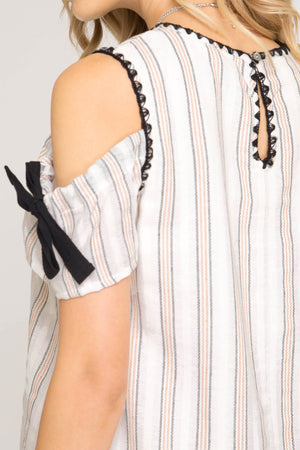 She + Sky Short - sleeve dress with exposed shoulder in a openwork striped with blanket stitch