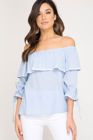 She + Sky 3/4 sleeve off shoulder top