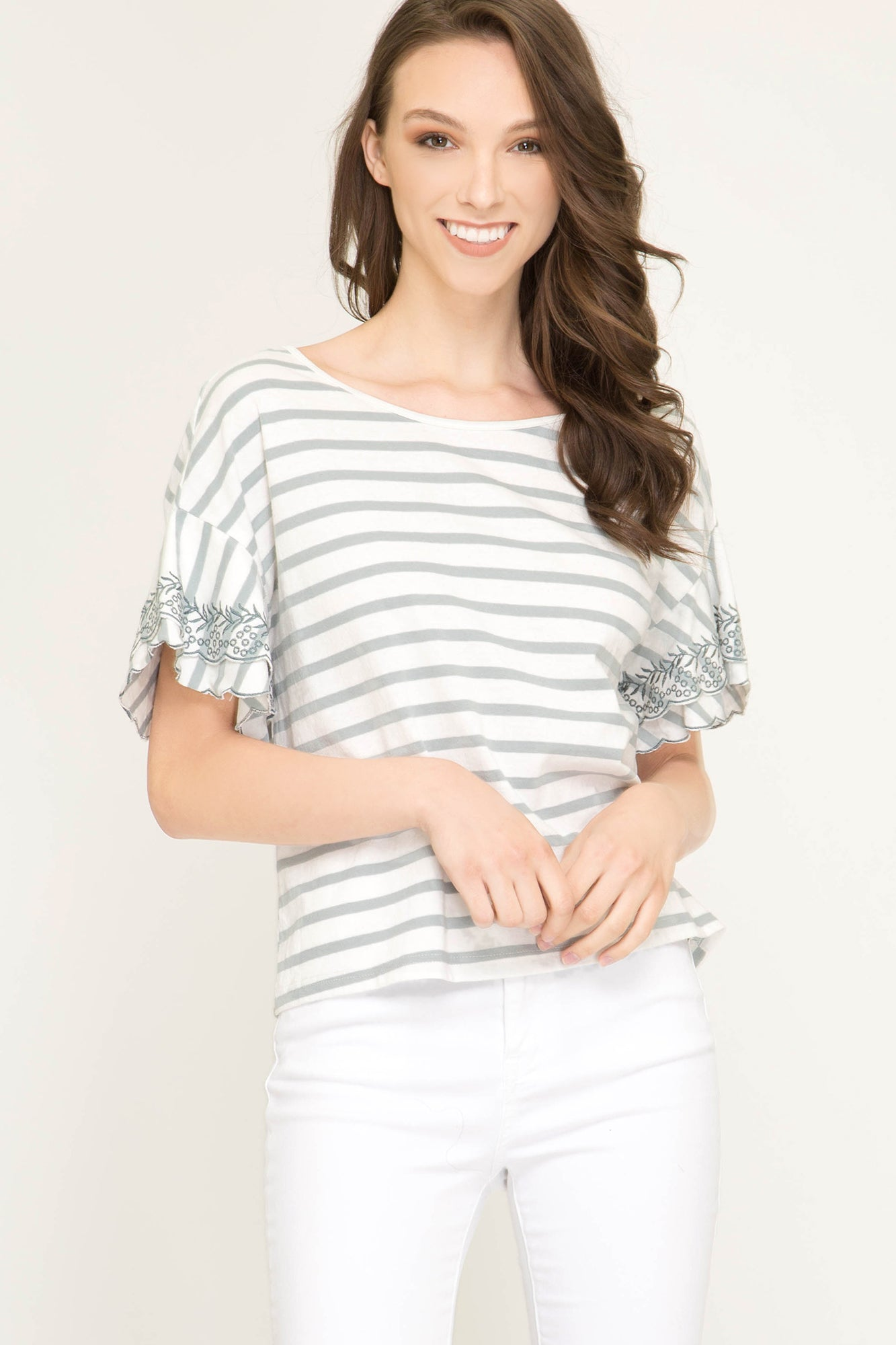 12d4c8001f829d She + Sky Embroidered sleeve striped knit top with back tie