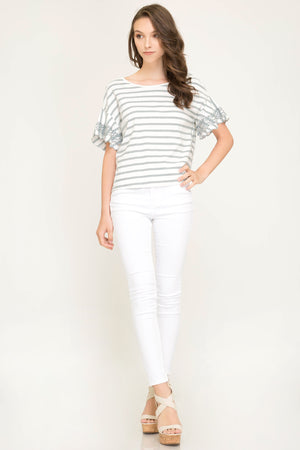 She + Sky Embroidered sleeve striped knit top with back tie