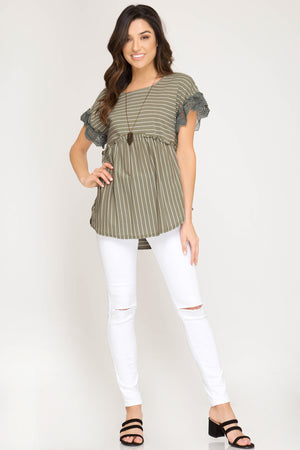 She + Sky Short lace sleeve striped knit top