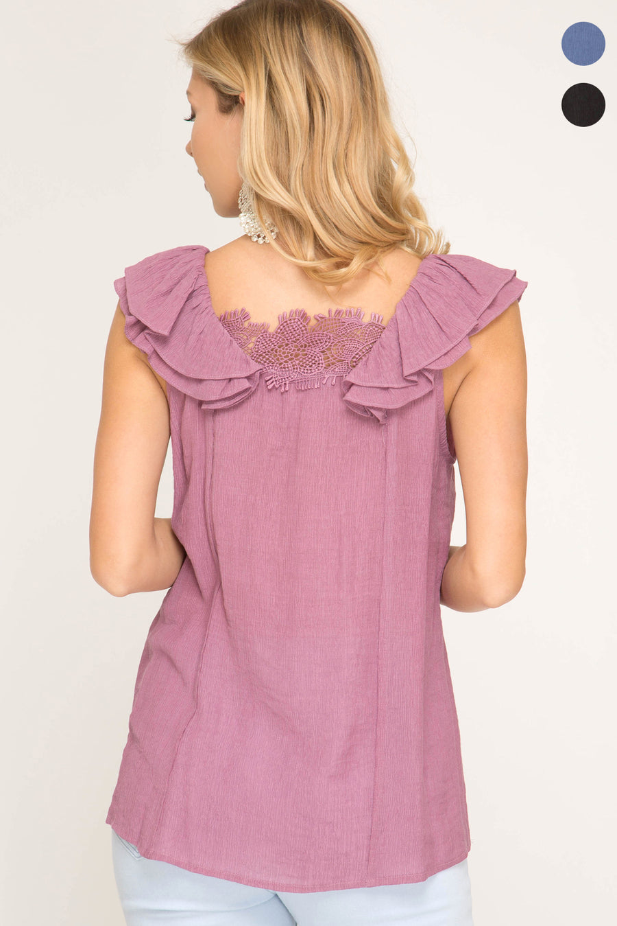She + Sky Ruffled sleeve woven top with lace trip