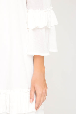 She + Sky Off shoulder ruffled sleeve dress