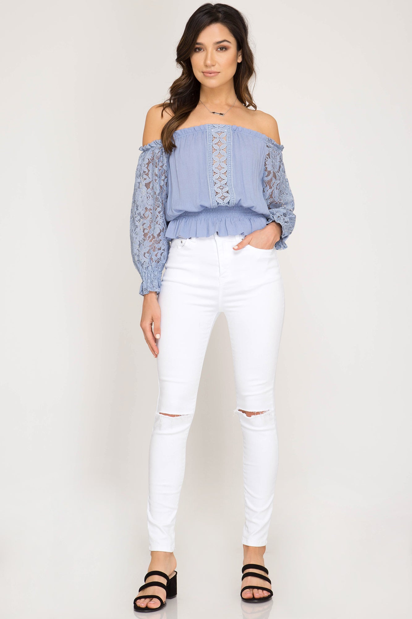 310f6cf4c27548 She + Sky Off the shoulder smocked sleeve woven top with lace contrast