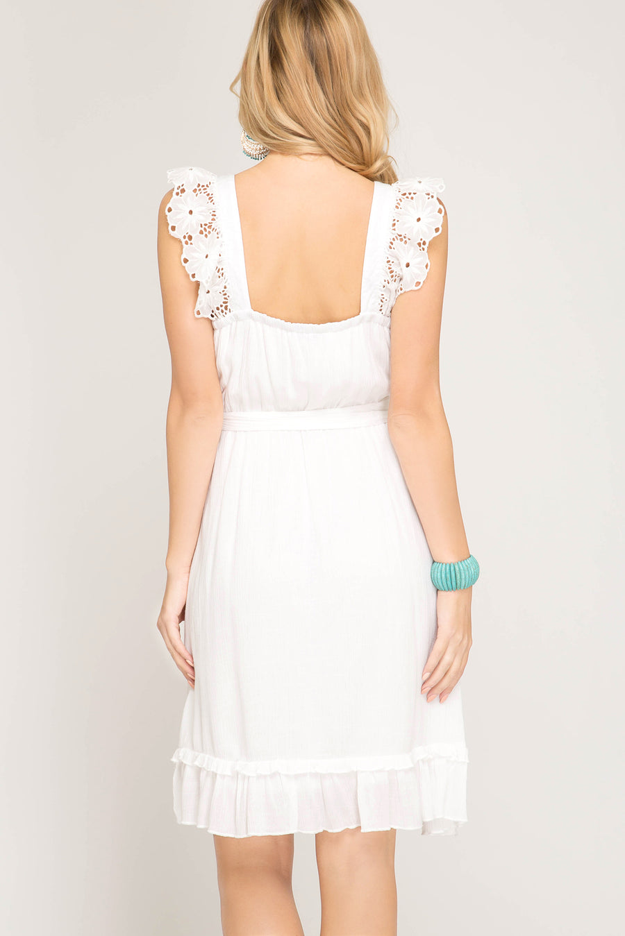She + Sky Sleeveless surplice dress with scalloped eyelet trim
