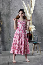 Load image into Gallery viewer, Ujala Pink Batik Tiered Maxi Dress