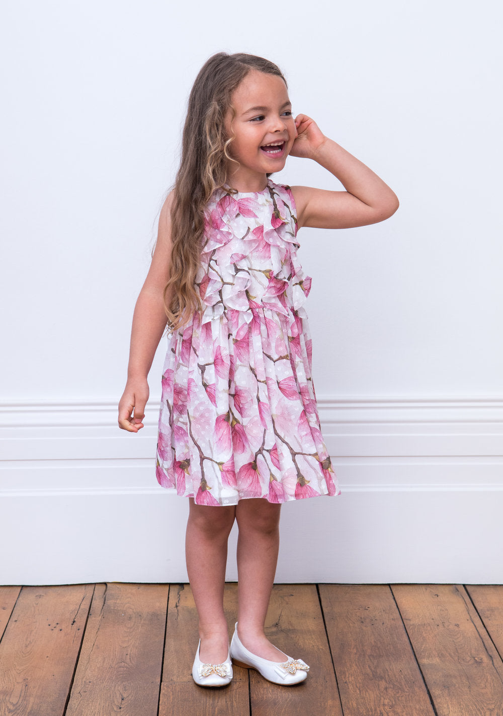 David Charles Ivory and Pink Peony Tea Dress