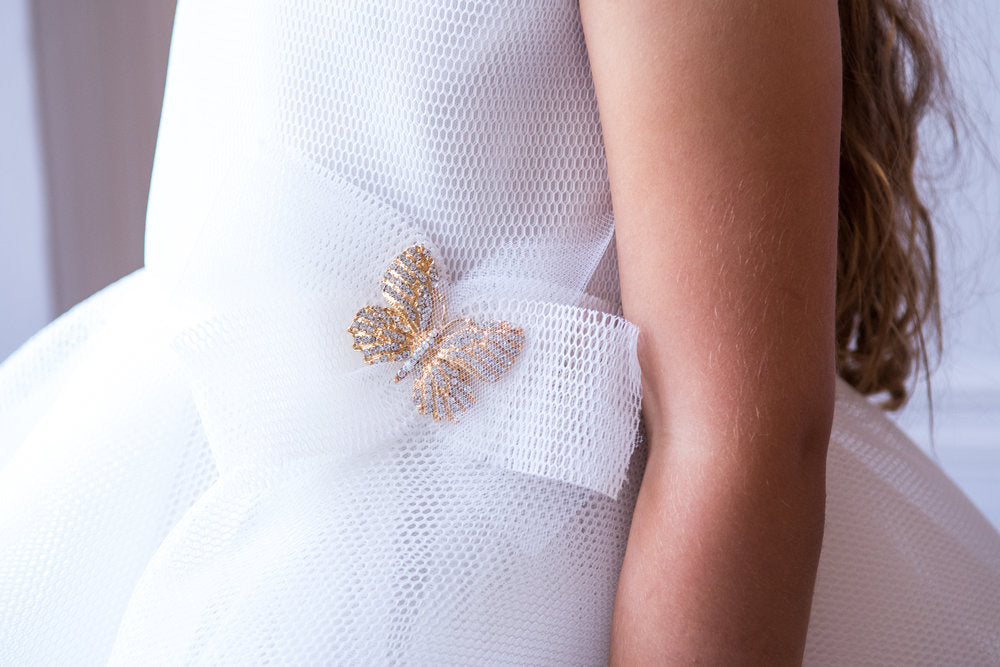 Load image into Gallery viewer, David Charles Ivory Butterfly Bridesmaid Gown