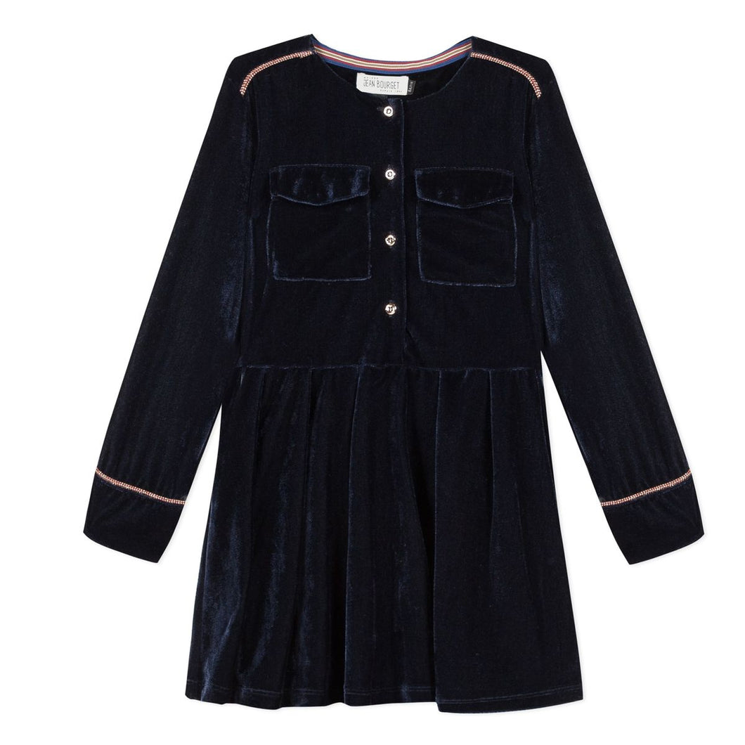 Jean Bourget Girls Navy Velour Dress with Front Pockets