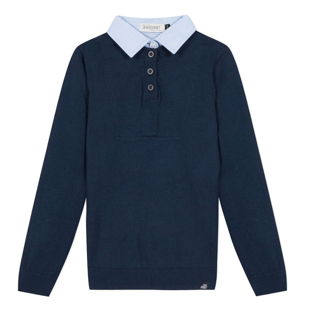 Jean Bourget Boys Pullover with Shirt Collar