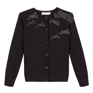 LILI GAUFRETTE Girls Black Bow Knit Cardigan