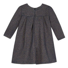 Load image into Gallery viewer, LILI GAUFRETTE Girls Grey Navy Metallic Dress with Bows