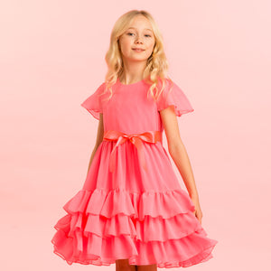Holly Hastie Candy Floss Pink Chiffon Dress