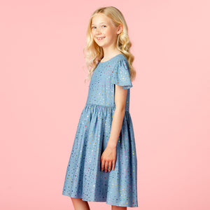 Holly Hastie Seren Indigo Cotton Star Blue Dress