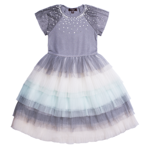 "IMOGA  ""KORA"" Girls Grey and Blue Ballerina Tulle Dress"