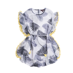"IMOGA  ""MIRA"" Girls Grey Feathered Dress With Yellow Lining"