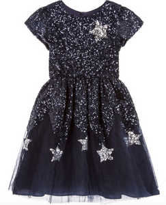 Wild and Gorgeous Star Wonder Sequin Dress in Navy