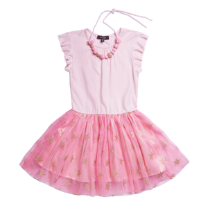 "MOGA  ""VIVIAN"" Girls Pink Dress With Stars"