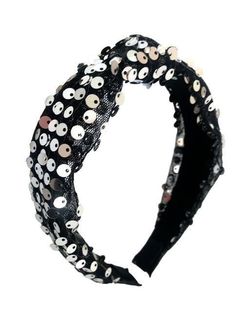 Bari Lynn Girl's Black Sequin knotted Headband