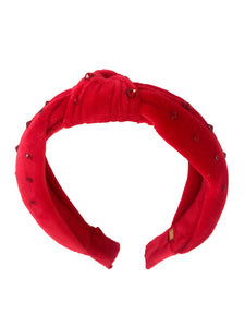 Bari Lynn Girl's Red Velvet knotted Headband with Swarovski Crystals