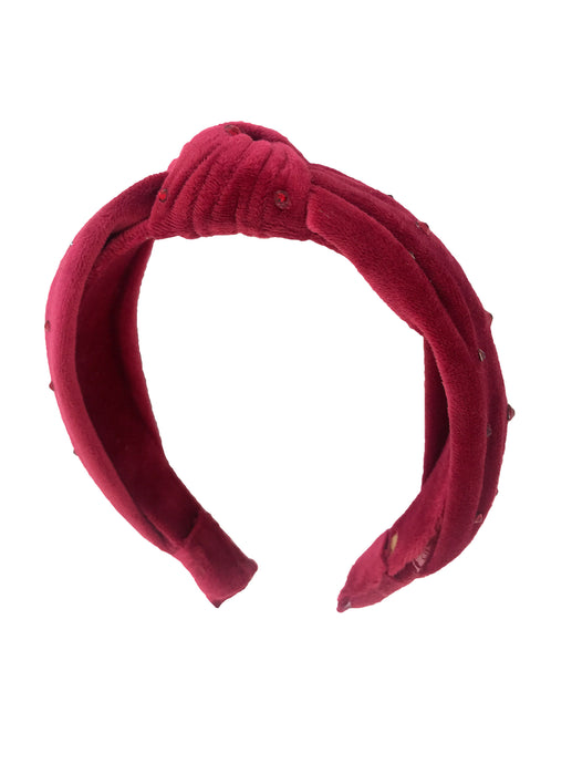 Bari Lynn Girl's Burgundy Velvet knotted Headband with Swarovski Crystals