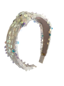 Bari Lynn Girl's Silver and White Sequin Knotted Headband