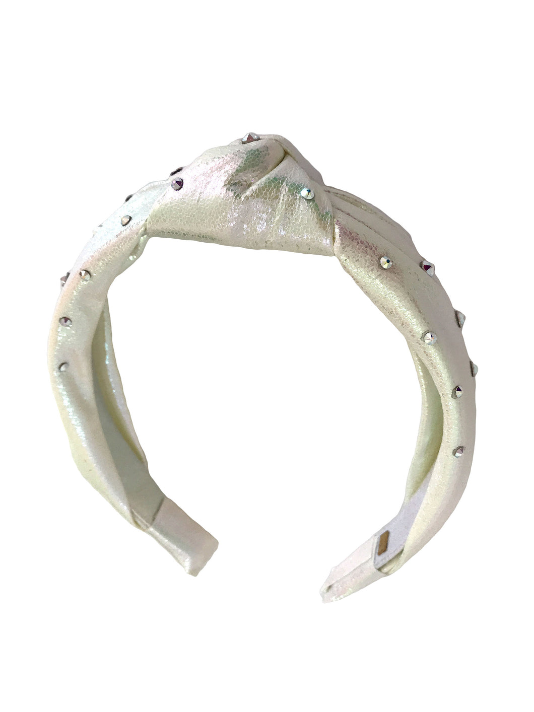 Bari Lynn Girl's White knotted Headband with Swarovski Crystals