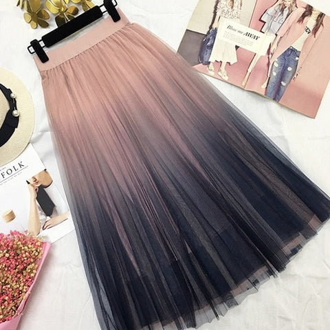 Long Tulle Skirt Elegant High Waist Midi Skirts