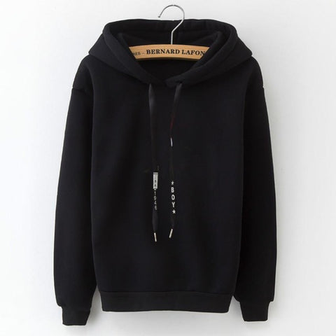 2019 Long Sleeve Solid Color Hooded Sweatshirt