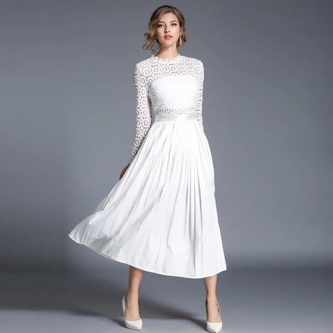 Autumn Solid Hollow Out Lace Elegant Casual White Dress