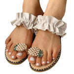Summer Casual Flat Toe Pineapple Pearl Bohemian Sandals