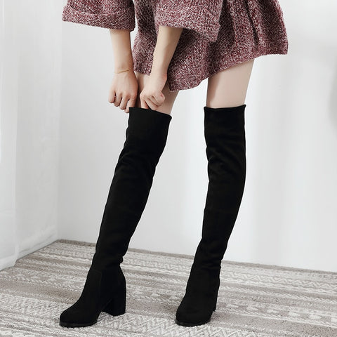 Sexy Slim Fit Elastic Flock Over The Knee Boots