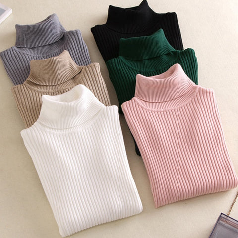 Knitted Turtleneck Sweater Casual Soft Polo-neck Jumper