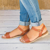 Roma Flat Solid Peep Toe Sandals Fish Mouth Casual Shoes