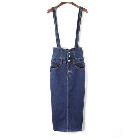 Long Denim Skirt With Straps Button Jeans Skirts